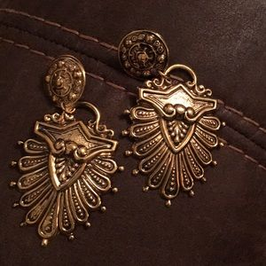 80's vintage retro antique earrings gold black